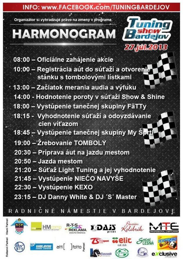 harmonogram tuning show Bardejov